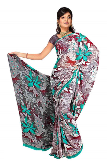 Devi Georgette Printed Casual Saree Sari Bellydance fabric
