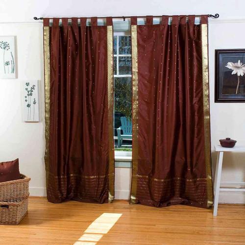 Brown  Tab Top  Sheer Sari Curtain / Drape / Panel  - Pair