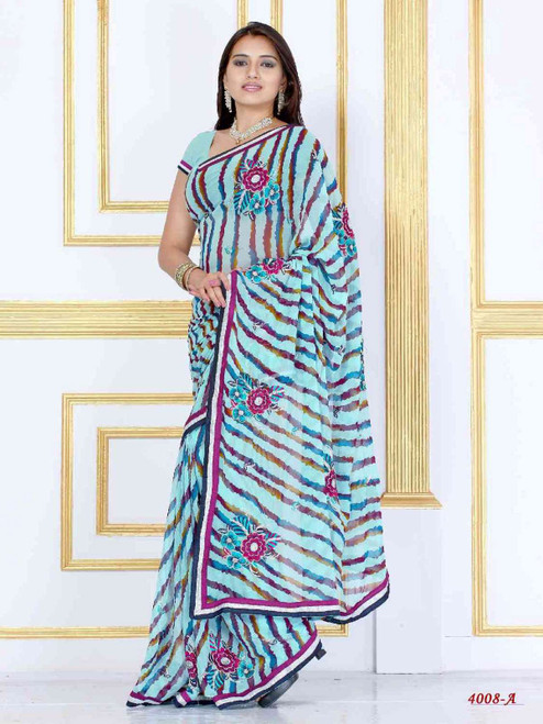Alaknanda sky blue Georgette Designer Party Wear Sari saree