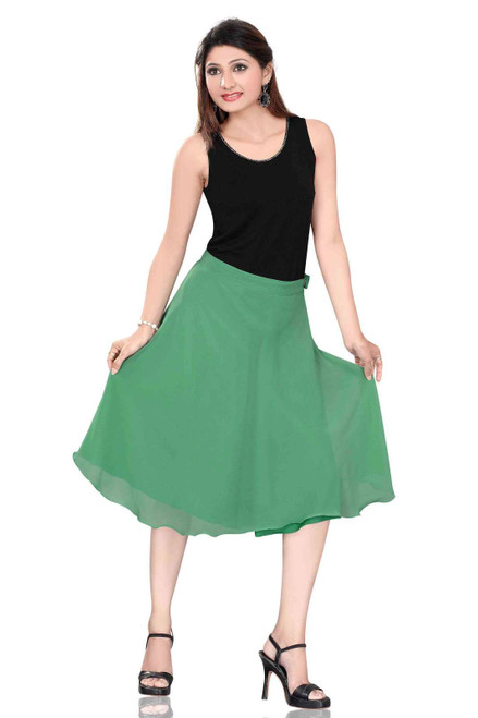 Pleated A-Line Womens Skirt, Green
