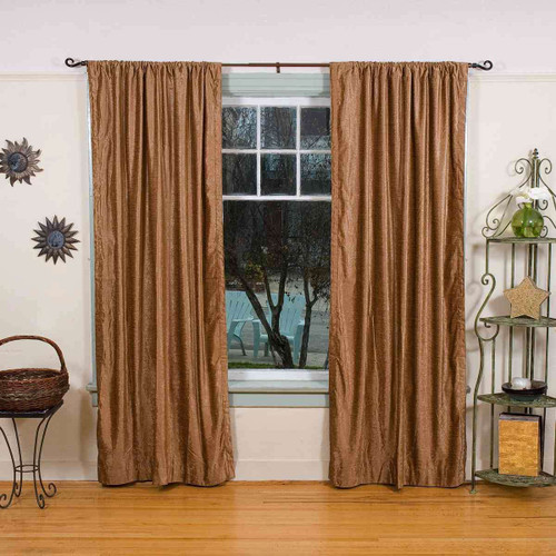 Taupe Rod Pocket  Velvet Curtain / Drape / Panel  - Piece