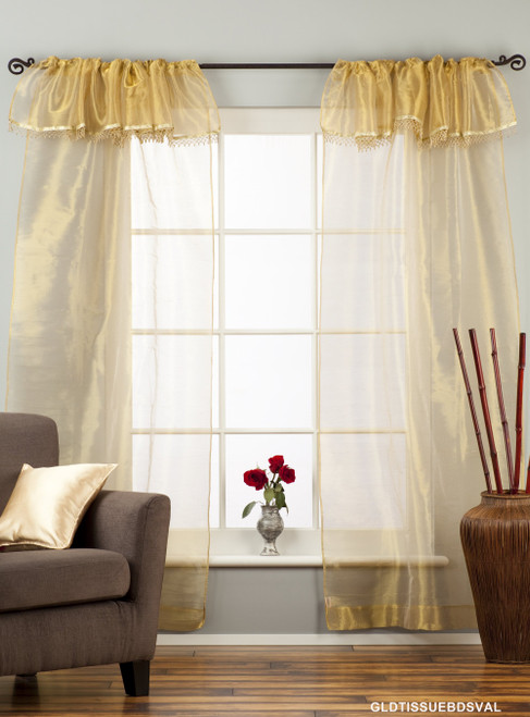Golden Rod Pocket w/ attached Beaded Valance Sheer Tissue Curtains - Piece