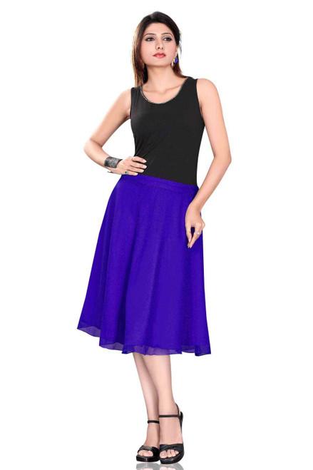 Pleated A-Line Womens Skirt, Blue