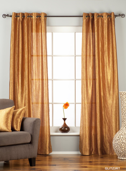 """Gingery Gold Ring / Grommet Top Textured Curtain / Drape / Panel - 84"""" - Piece"""