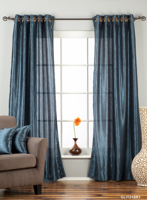 "Navy Blue Ring / Grommet Top Textured Curtain / Drape / Panel - 84"" - Piece"