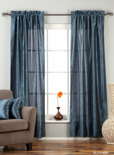 "Navy Blue Rod Pocket Textured Curtain / Drape / Panel - 84"" - Piece"