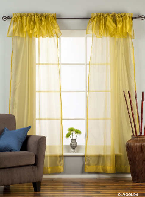 "Olive Gold Rod Pocket w/ attached Valance Sheer Tissue Curtain/ /Panel-84""-Piece"