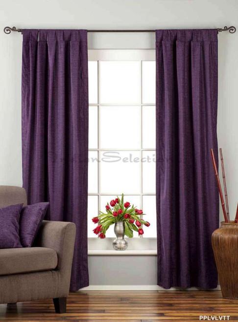 "Purple Tab Top Velvet  Curtain / Drape / Panel  - 84"" - Piece"