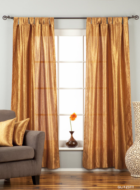 """Gingery Gold Tab Top Textured Curtain / Drape / Panel - 84"""" - Piece"""