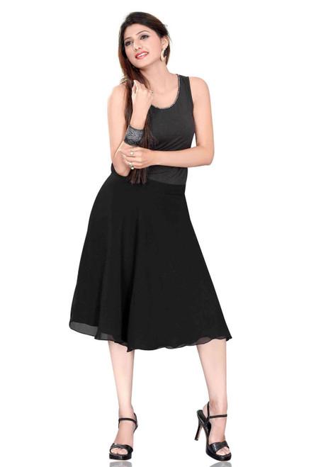 Pleated A-Line Womens Skirt, Black