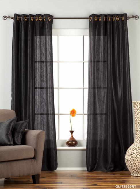 "Black Ring / Grommet Top Textured Curtain / Drape / Panel - 84"" - Piece"