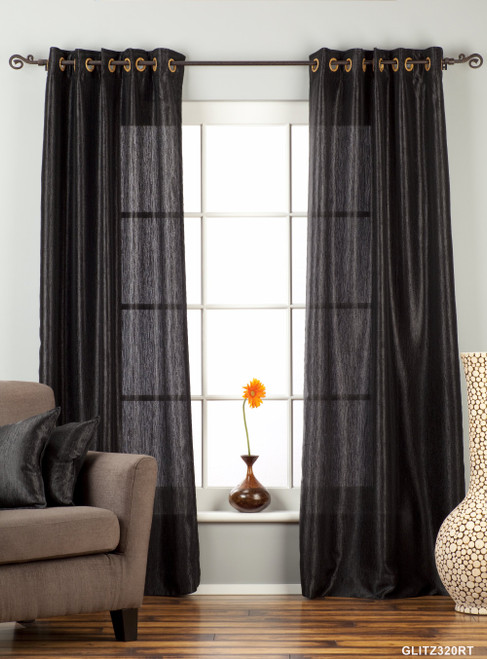 "Black Ring / Grommet Top Textured Curtain / Drape / Panel - 84"" - Piece"