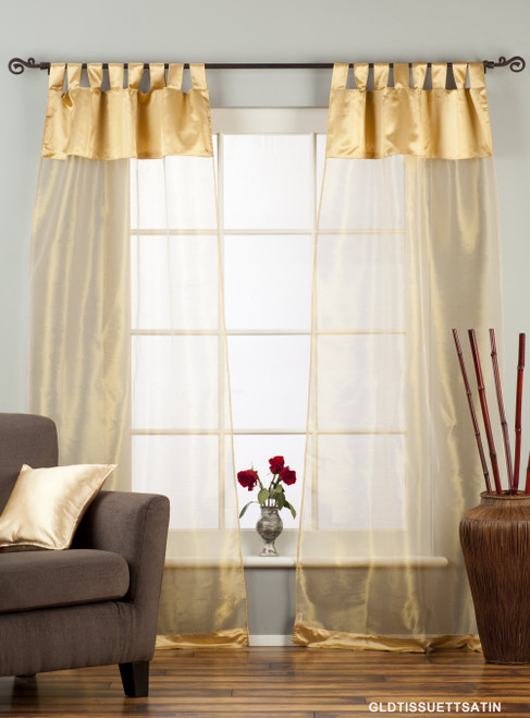 "Golden Tab Top Sheer Tissue Curtain / Drape / Panel - 84"" - Piece"