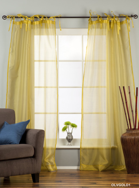 """Olive Gold Tie Top  Sheer Tissue  Curtain / Drape / Panel  - 84"""" - Piece"""