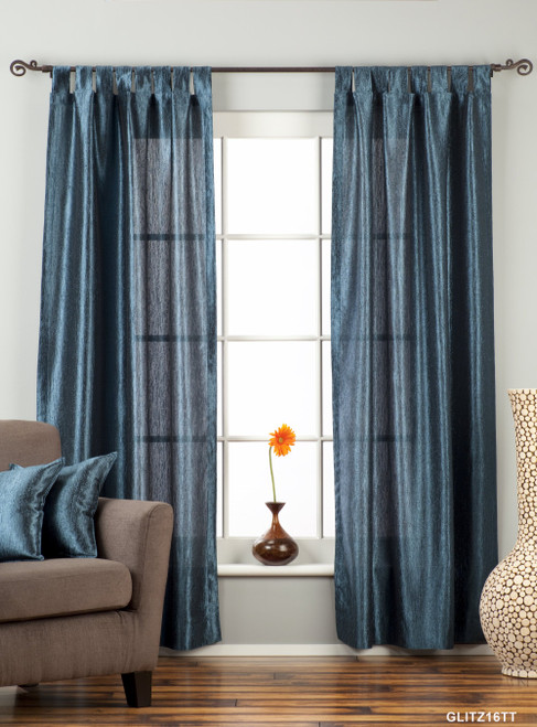 "Navy Blue Tab Top Textured Curtain / Drape / Panel - 84"" - Piece"
