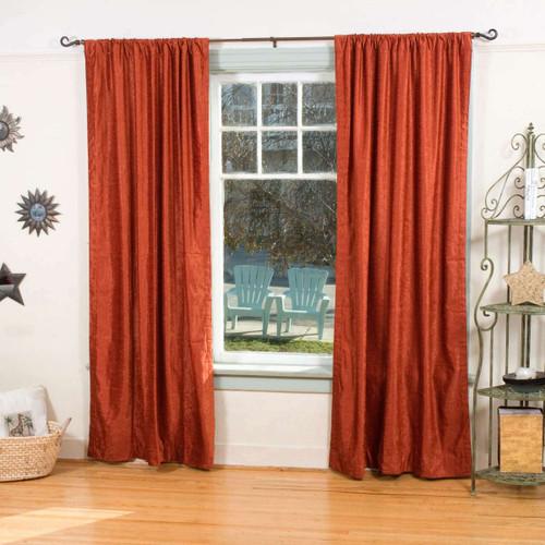 Rust Rod Pocket  Velvet Curtain / Drape / Panel  - Piece