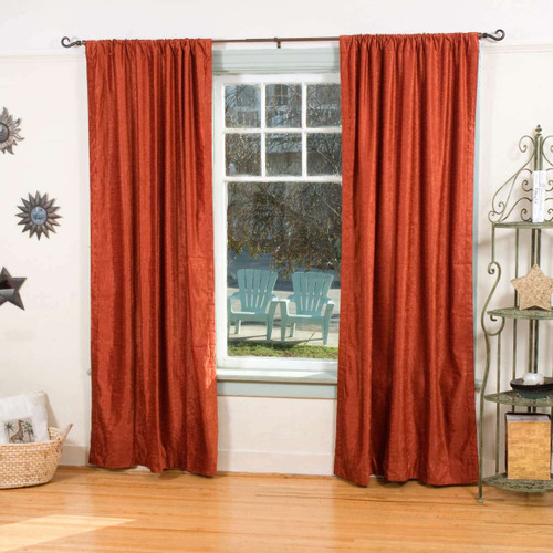 Rust Rod Pocket  Velvet Curtain / Drape / Panel  - Piece