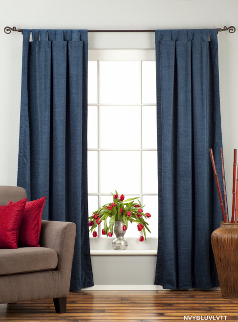 "Navy Blue Tab Top Velvet  Curtain / Drape / Panel  - 84"" - Piece"