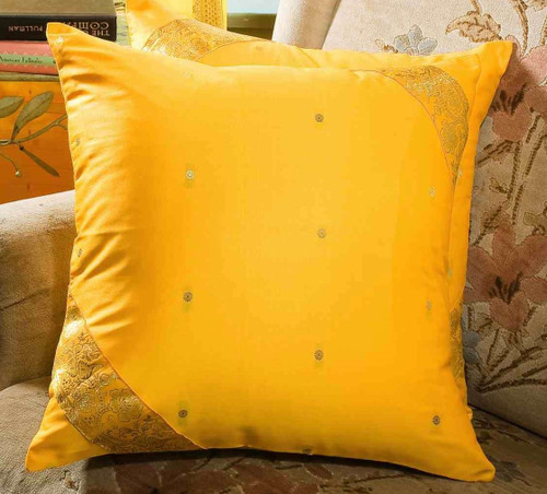 Yellow-Decorative handcrafted Cushion Cover, Throw Pillow case Euro Sham-6 Sizes