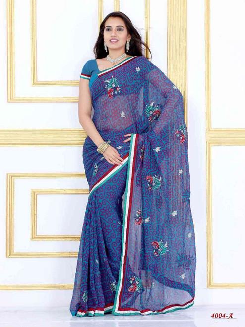 Alak dark blue Georgette Designer Party Wear Sari saree