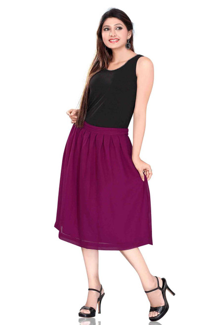 Pleated A-Line Womens Skirt, Violet Red