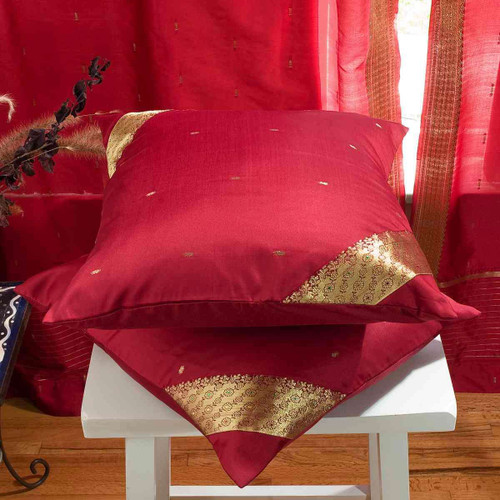 Maroon-Decorative handcrafted Cushion Cover, Throw Pillow case Euro Sham-6 Sizes