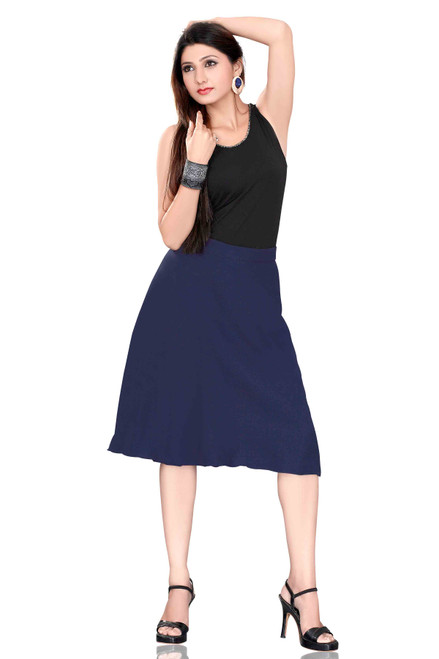 Pleated A-Line Womens Skirt, Navy Blue