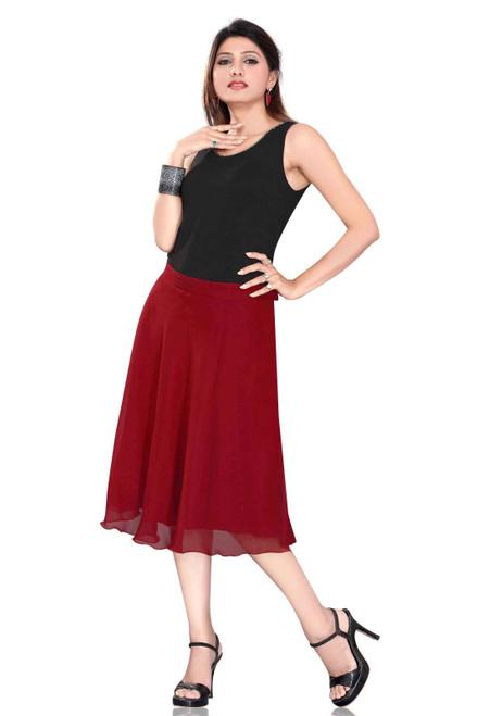 Pleated A-Line Womens Skirt, Maroon