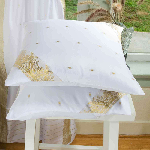 White-Decorative handcrafted Cushion Cover, Throw Pillow case Euro Sham-6 Sizes