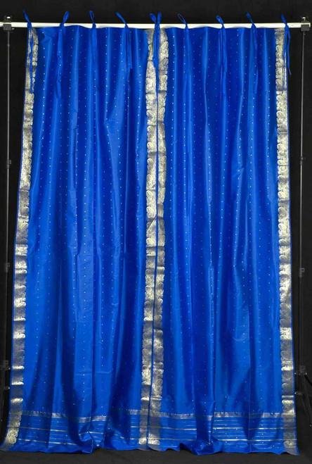 Island Blue  Tie Top  Sheer Sari Curtain / Drape / Panel  - Pair