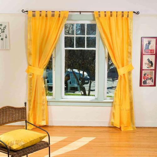 Indo Yellow Tab Top Sari Sheer Curtain (43 in. x 84 in.) with matching tieback