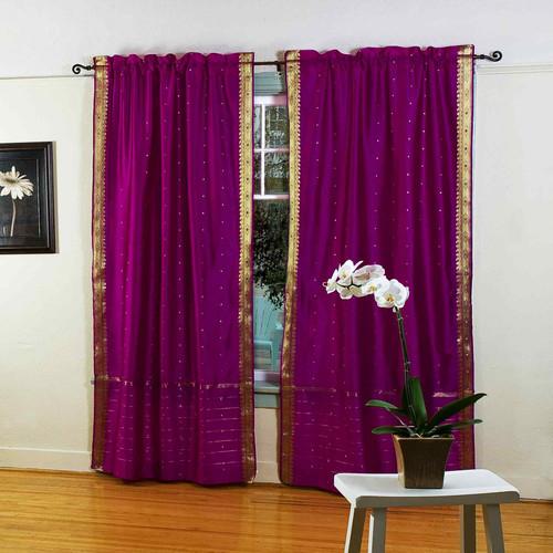 Violet Red Rod Pocket  Sheer Sari Curtain / Drape / Panel  - Pair