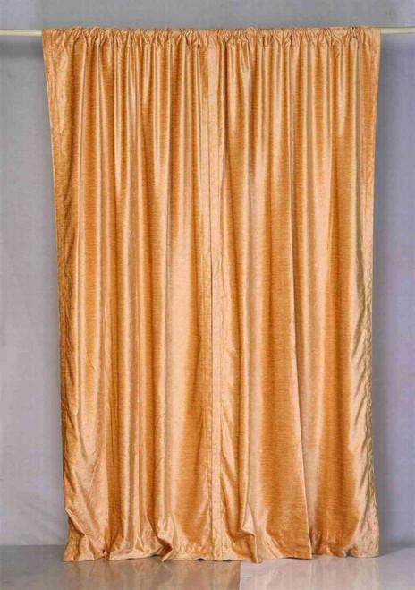Peach Rod Pocket  Velvet Curtain / Drape / Panel  - Piece