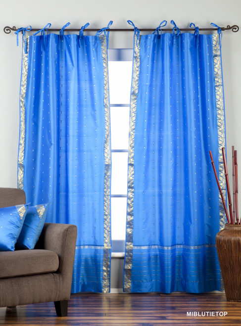 Island Blue  Tie Top  Sheer Sari Curtain / Drape / Panel  - Piece