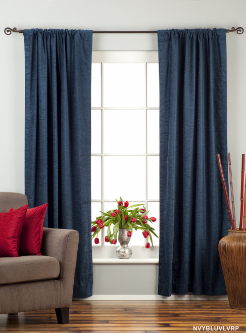 Navy Blue Rod Pocket  Velvet Curtain / Drape / Panel  - Piece