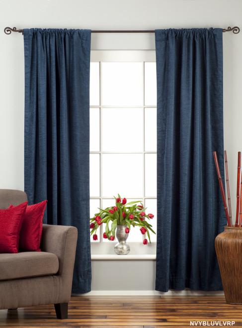 Navy Blue Rod Pocket  Velvet Curtain / Drape / Panel  - Piece