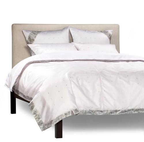 White Silver-5 Piece  Sari Duvet Cover Set w/ Pillow Covers/Euro Sham