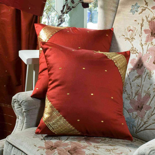 Rust-Decorative handcrafted Cushion Cover, Throw Pillow case Euro Sham-6 Sizes