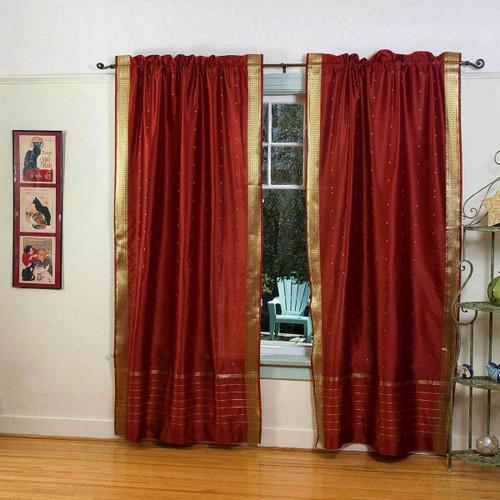 Rust Rod Pocket  Sheer Sari Curtain / Drape / Panel  - Pair