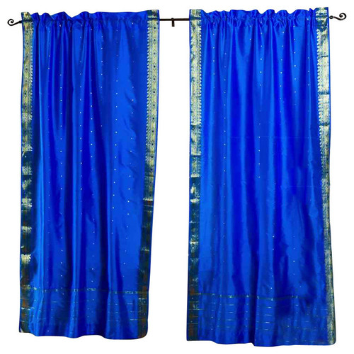 Blue Rod Pocket  Sheer Sari Curtain / Drape / Panel  - Pair