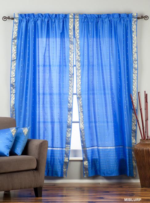 Blue Rod Pocket  Sheer Sari Curtain / Drape / Panel  - Piece