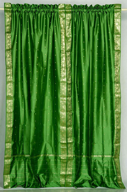 Forest Green Rod Pocket  Sheer Sari Curtain / Drape / Panel  - Pair