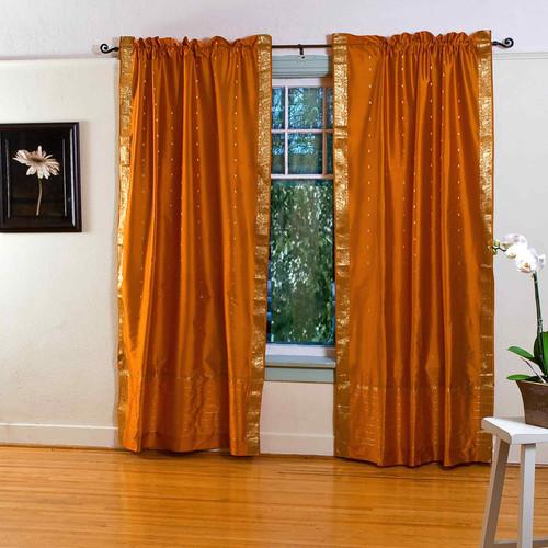 Mustard Yellow Rod Pocket  Sheer Sari Curtain / Drape / Panel  - Pair