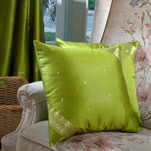 Olive Green- handcrafted Cushion Cover, Throw Pillow case Euro Sham-6 Sizes
