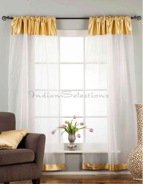 "White with Gold Satin Rod Pocket Sheer Tissue Curtain / Drape / Panel-84""-Piece"