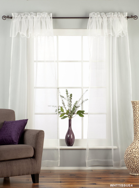 """White Rod Pocket w/ attached Beaded Valance Sheer Tissue Curtain-84""""-Piece"""
