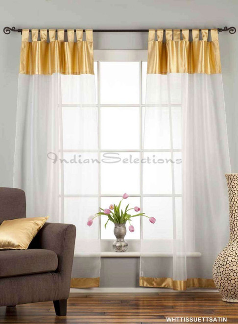 "White with Gold Satin Tab Top Sheer Tissue Curtain / Drape / Panel-84""-Piece"