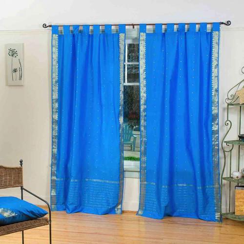 Blue  Tab Top  Sheer Sari Curtain / Drape / Panel  - Pair