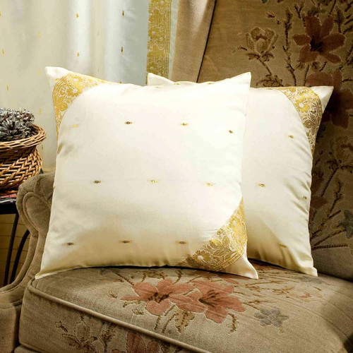 Cream-Decorative handcrafted Cushion Cover, Throw Pillow case Euro Sham-6 Sizes