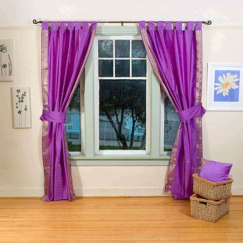 Indo Lavender Tab Top Sari Sheer Curtain (43 in. x 84 in.) with matching tieback